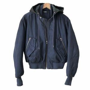 Aritzia TNA Oversized Bomber Jacket Leather Hoodie